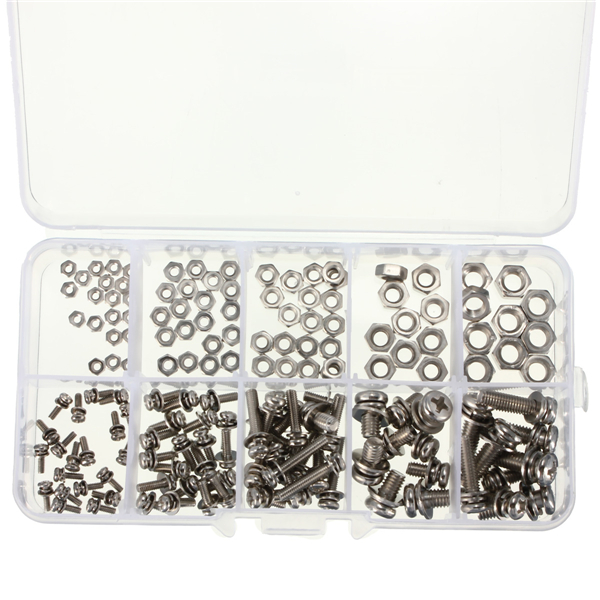 160pcs M2 M2.5 M3 M4 M5 Steel Screws SEM Phillips Pan Head Nuts Assortment Kit 240pc set m3 cap head stainless steel hex socket screws bolt with hex nuts assortment kit fasteners with plastic box screw bolt